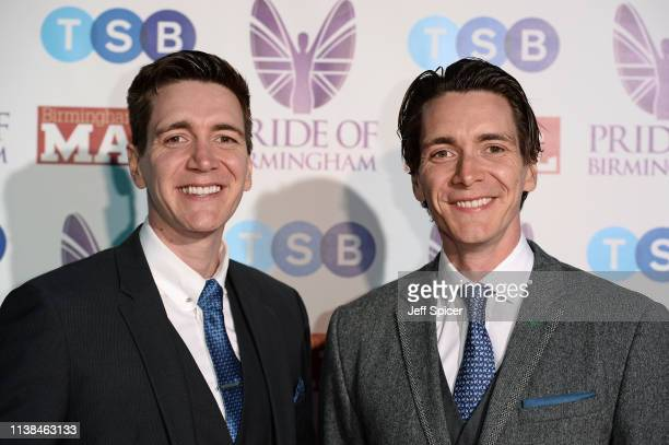 Oliver Phelps and James Phelps attend The Pride of Birmingham Awards in partnership with TSB at University of Birmingham on March 26 2019 in...