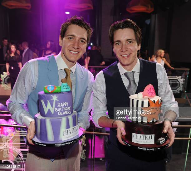 Oliver Phelps and James Phelps celebrate their birthday at Chateau Nightclub gardens at Paris Las Vegas on March 2 2012 in Las Vegas Nevada