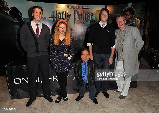 Oliver Phelps Jessie Cave Warwick Davis James Phelps and Mark Williams promote the DVD 'Harry Potter And The Deathly Hallows Part 2' at Harrods on...