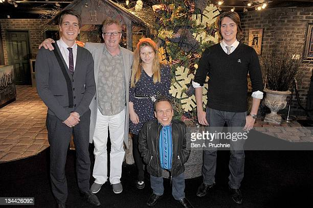 Oliver Phelps Mark Williams Jessie Cave Warwick Davis and James Phelps sign copies of the final DVD 'Harry Potter And The Deathly Hallows Part Two'...