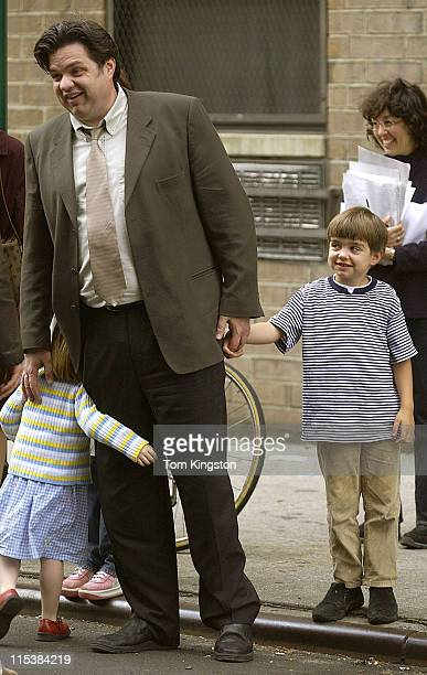 Oliver Platt with son George during On the set of Pieces of April in SoHo New York City at SoHo in New York City New York United States