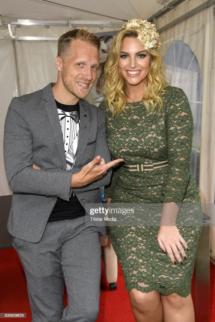 Oliver Pocher and Angelina Kirsch during the Audi Ascot Race Day (Renntag) 2017 on August 20, 2017 in Hanover, Germany.