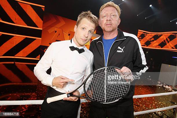 Oliver Pocher and Boris Becker attend the TV Show 'Alle auf den Kleinen' with Boris Becker and Lilly Becker vs Oliver Pocher on October 22 2013 in...