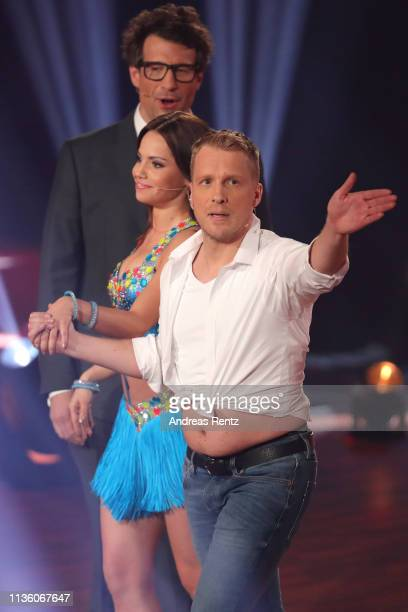 Oliver Pocher and Christina Luft gesture on stage during the preshow Wer tanzt mit wem Die grosse Kennenlernshow of the television competition Let's...