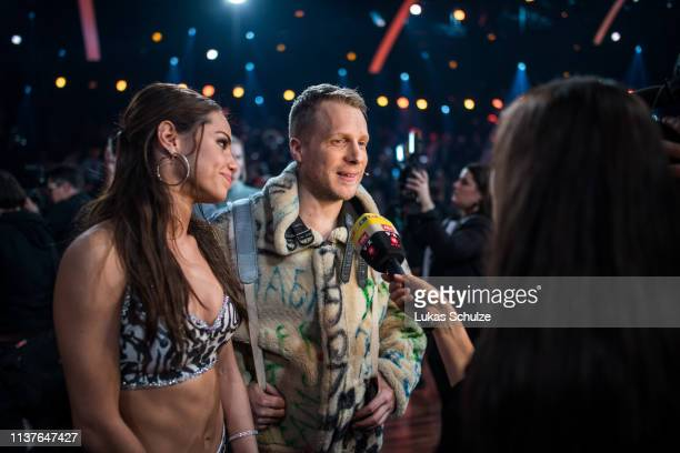 Oliver Pocher and Christina Luft give an interview on stage after the 1st show of the 12th season of the television competition 'Let's Dance' on...