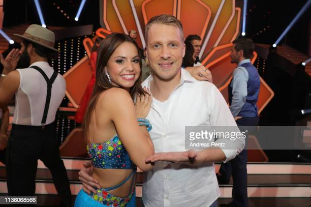 "Oliver Pocher and Christina Luft pose for a photograph during the pre-show ""Wer tanzt mit wem? Die grosse Kennenlernshow"" of the television..."