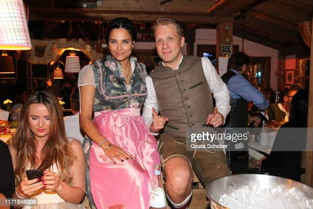 Oliver Pocher and his girlfriend Amira Aly during the Oktoberfest 2019 at Kaeferschaenke beer tent / Theresienwiese on September 28, 2019 in Munich,...