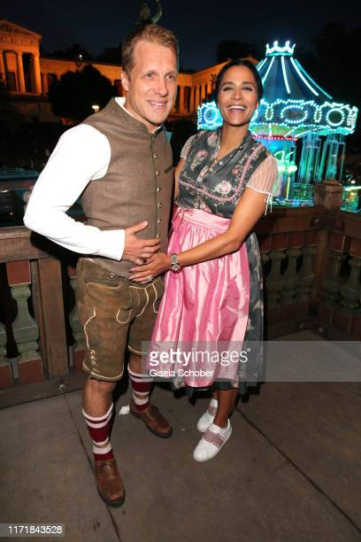 Oliver Pocher and his girlfriend Amira Aly pregnant during the Oktoberfest 2019 at Kaeferschaenke beer tent / Theresienwiese on September 28 2019 in...
