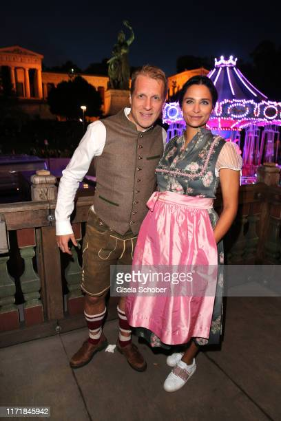 Oliver Pocher and his girlfriend Amira Aly, pregnant, during the Oktoberfest 2019 at Kaeferschaenke beer tent / Theresienwiese on September 28, 2019...