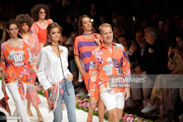 Oliver Pocher and models walk the runway at the Sportalm Kitzbuehel show during the Berlin Fashion Week Spring/Summer 2020 at ewerk on July 03 2019...