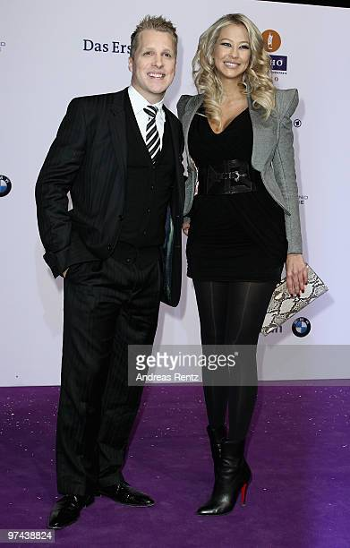 Oliver Pocher and Sandy MeyerWoelden arrive for Echo award 2010 at Messe Berlin on March 4 2010 in Berlin Germany