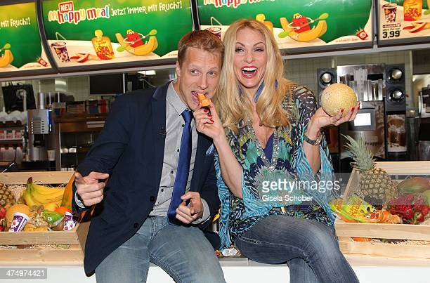 Oliver Pocher and Sonya Kraus attend the presentation of the new Happy Meal with fruits at a McDonald's store on February 26, 2014 in Munich, Germany.