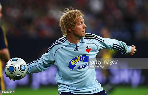 Oliver Pocher imitates a legendary German goalkeeper Oliver Kahn during the charity match between Mc Fit Allstars and FC Bayern Muenchen on July 25...
