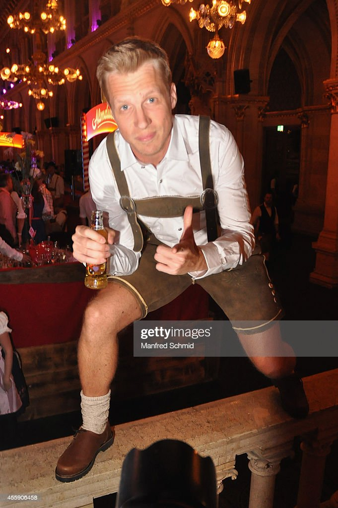 Oliver Pocher in traditional Austrian Lederhose poses for a photograph during the Trachtenpaerchenball 2014 at City Hall on September 19, 2014 in Vienna, Austria.