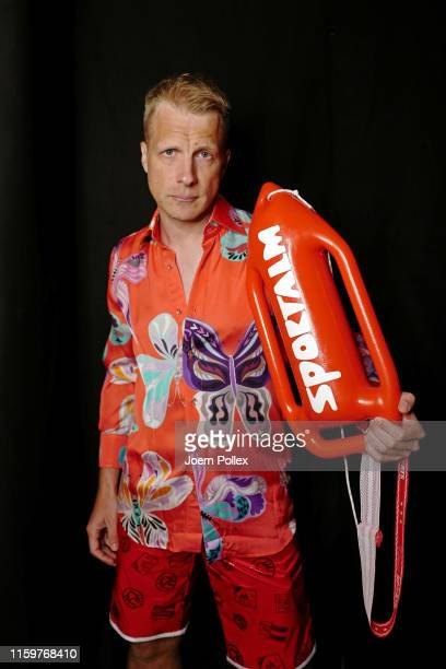 Oliver Pocher is seen backstage ahead of the Sportalm Kitzbuehel show during the Berlin Fashion Week Spring/Summer 2020 at ewerk on July 03 2019 in...