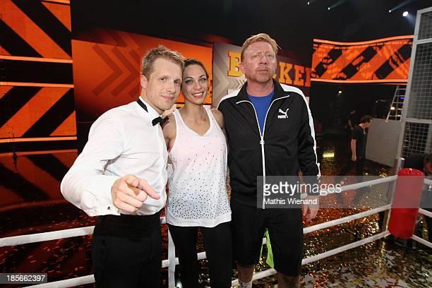 Oliver Pocher, Lilly Becker and Boris Becker attend the TV Show 'Alle auf den Kleinen' with Boris Becker and Lilly Becker vs Oliver Pocher on October...