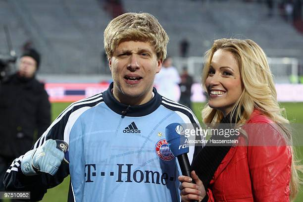 Oliver Pocher of the ran AllstarTeam is interviewed by Andrea Kaiser afte the charity match for earthquake victims in Haiti between ran Allstar team...