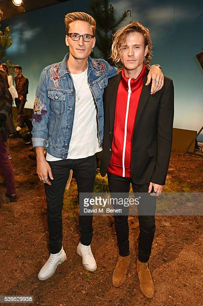 Oliver Proudlock and Dougie Poynter attend the Belstaff presentation during The London Collections Men SS17 at QEII Centre on June 12 2016 in London...