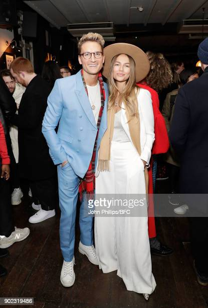 Oliver Proudlock and Emma Louise Connolly attend the LFWM Official Party Pub LockIn during London Fashion Week Men's January 2018 at The George on...