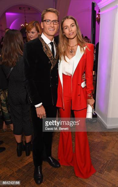 Oliver Proudlock and Emma Louise Connolly attend the Marie Claire Future Shapers Awards drinks reception at One Marylebone on September 26 2017 in...