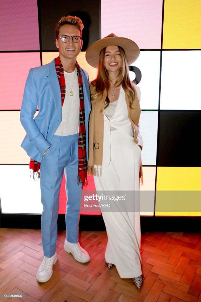 Oliver Proudlock and Emma Louise Connolly attend the TOPMAN LFWM Party during London Fashion Week Men's January 2018 at Mortimer House on January 7, 2018 in London, England.