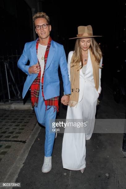 Oliver Proudlock and Emma Louise Connolly attend the TopMan party at Mortimer House during London Fashion Week Men's January 2018 on January 7 2018...