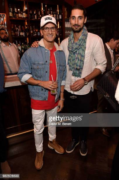 Oliver Proudlock and Hugo Taylor attend the opening party for Knightbridge's newest dining offering OSH Restaurant on March 15 2018 in London England