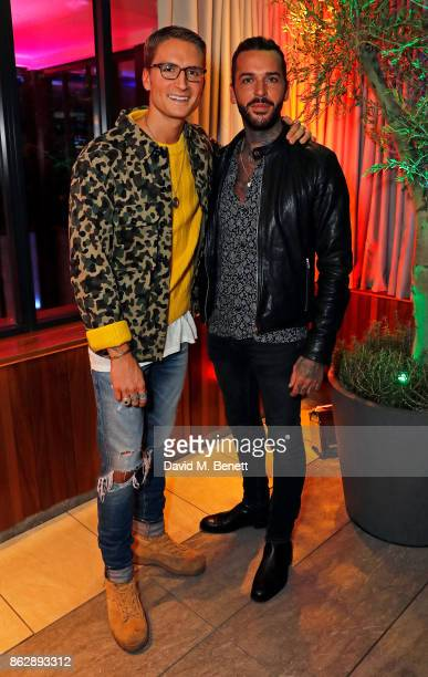 Oliver Proudlock and Pete Wicks attend the launch of The Trafalgar St James in the hotel's spectacular new bar The Rooftop on October 18 2017 in...