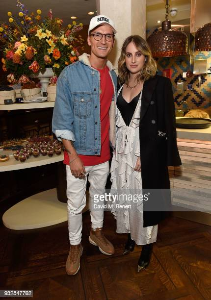 Oliver Proudlock and Rosie Fortescue attend the opening party for Knightbridge's newest dining offering OSH Restaurant on March 15 2018 in London...