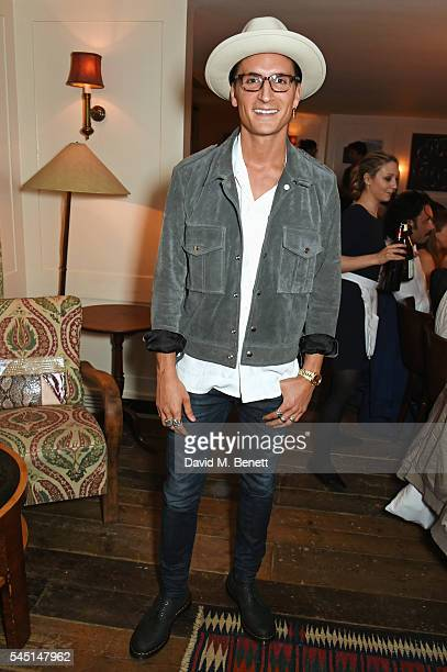 Oliver Proudlock attends a private dinner hosted by Dylan Jones and JeanDavid Malat to celebrate artist Mike Dargas at Soho House on July 5 2016 in...