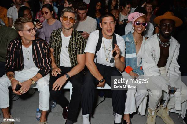 Oliver Proudlock Darren Kennedy Aaron Unknown Naomi Kaji and Kojey Radical attend the What We Wear show during London Fashion Week Men's June 2018 at...