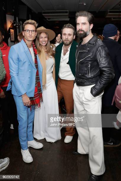Oliver Proudlock Emma Louise Connolly guest and Jack Guinness attend the LFWM Official Party Pub LockIn during London Fashion Week Men's January 2018...