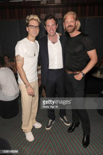 Oliver Proudlock, Jack Brooksbank and Alistair Guy seen attending Casamigos House Of Friends event at Isabel Mayfair on September 08, 2021 in London,...