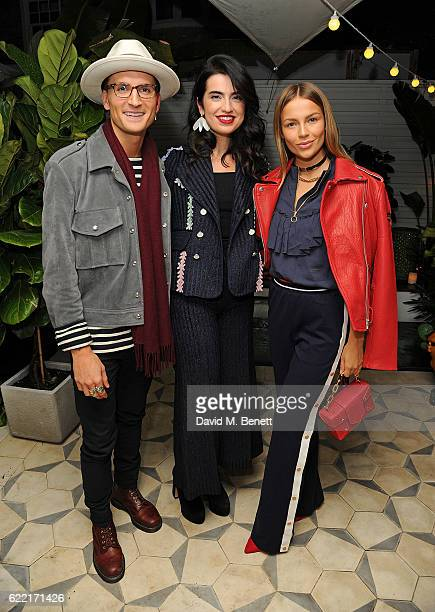 Oliver Proudlock Jamila Askarova and Emma Connolly attend 5 Years of Gazelli SkinCare on November 10 2016 in London England