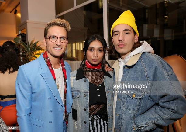 Oliver Proudlock Shree Patel and Hector Bellerin attend the TOPMAN LFWM Party during London Fashion Week Men's January 2018 at Mortimer House on...