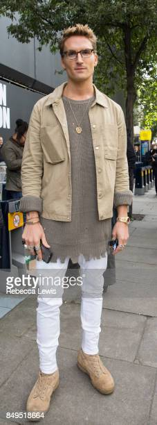 Oliver Proudlock wearing New Look during London Fashion Week September 2017 on September 19 2017 in London England