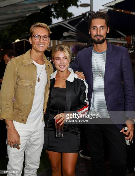 Oliver Proulock Jess Woodley and Hugo Taylor attend the Taylor Morris Eyewear x Aspall Tennis Classic Player's Party at Bluebird Chelsea on June 28...