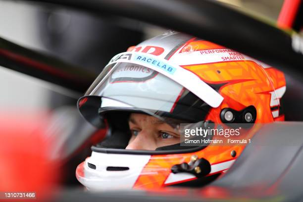 Oliver Rasmussen of Denmark and HWA Racelab prepares to drive during Day Two of Formula 3 Testing at Red Bull Ring on April 04, 2021 in Spielberg,...