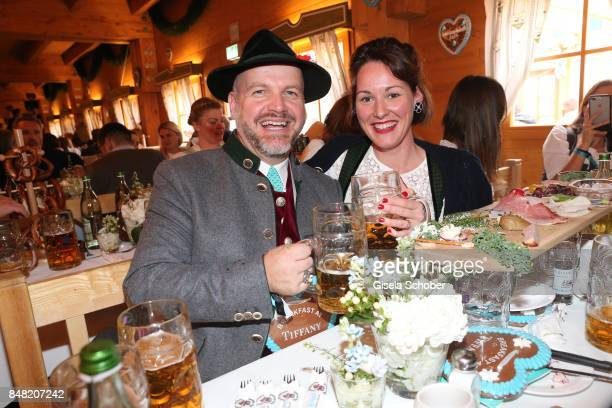 Oliver Rauh, Alexandra von Frankenberg - dirndl designer Amsel Fashion, during the 'Fruehstueck bei Tiffany' at Schuetzenfesthalle at the Oktoberfest...
