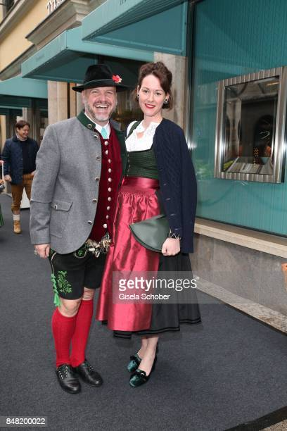 Oliver Rauh and Alexandra von Frankenberg, dirndl designer Amsel Fashion during the 'Fruehstueck bei Tiffany' at Tiffany Store ahead of the...
