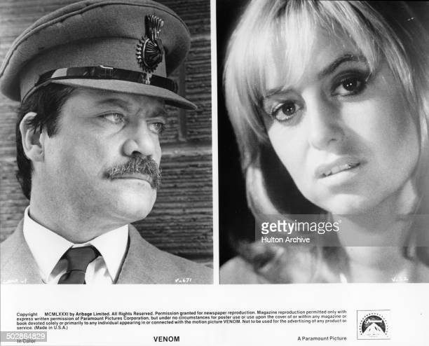 "Oliver Reed plays Dave Averconnelly n a scene. Susan George poses for the Paramount Picture movie ""Venom"" circa 1981."