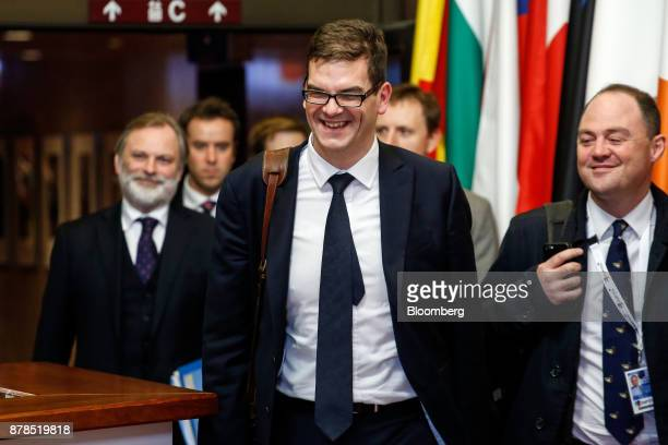 Oliver Robbins permanent secretary for the Department for Exiting the European Union center leaves the Eastern Partnership Summit at the Europa...