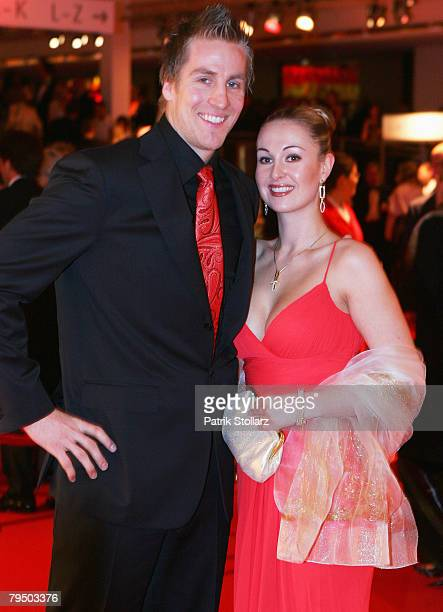 Oliver Roggisch and his girlfriend Astrid Boehringer attend the 2008 Sports Gala ' Ball des Sports ' at the RheinMain Hall on February 2 2008 in...