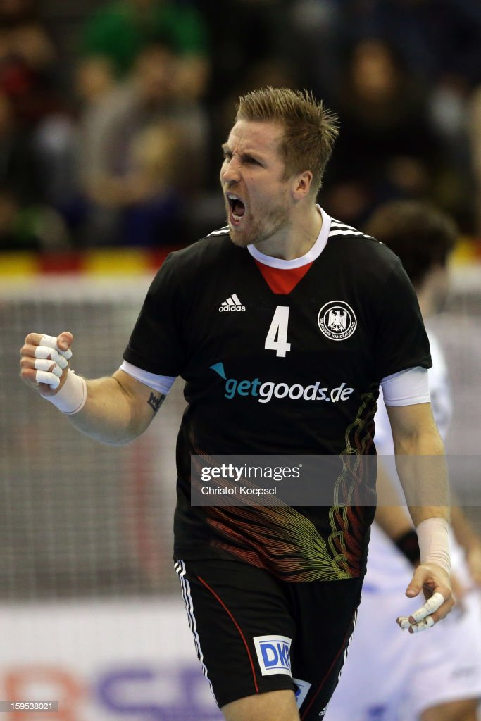 Oliver Roggisch of Germany celebrates a goal during the premilary group A match between Germany and Argentina at Palacio de Deportes de Granollers on January 15, 2013 in Granollers, Spain.