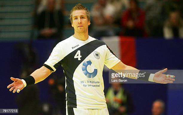 Oliver Roggisch of Germany gestures during the Men's Handball European Championship main round Group II match between Germany and France at Trondheim...