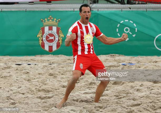 Oliver Romrig of Duesseldorf celebrates after scoring a goal during the German Beachsoccer Championship semi final match between Bavaria Beach Bazis...