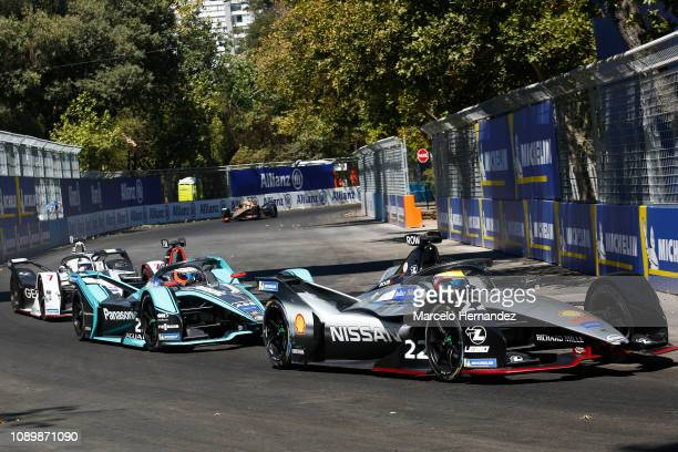 Oliver Rowland of Nissan team competes during the 2019 Antofagasta Minerals Santiago E-Prix as part of Formula E 2019 season on January 26, 2019 in...