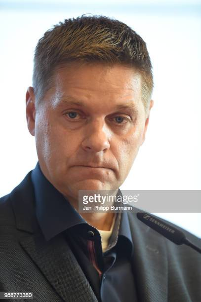 Oliver Ruhnert of 1 FC Union Berlin during the press conference at Stadion an der alten Foersterei on May 15 2018 in Berlin Germany