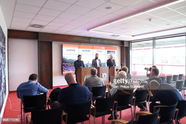CEO Oliver Ruhnert spokesman Christian Arbeit and president Dirk Zingler of 1 FC Union Berlin during the press conference at Stadion an der alten...