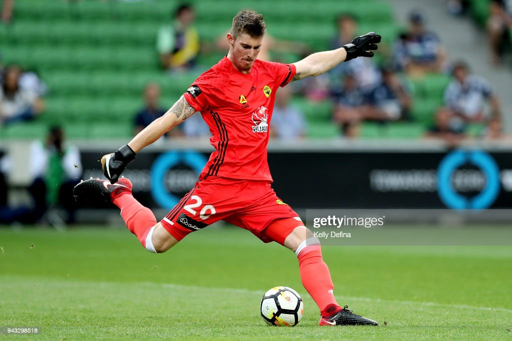Oliver Sail of Wellington Phoenix kicks the ball during the round 26 A-League match between the Melbourne Victory and the Wellington Phoenix at AAMI Park on April 8, 2018 in Melbourne, Australia.
